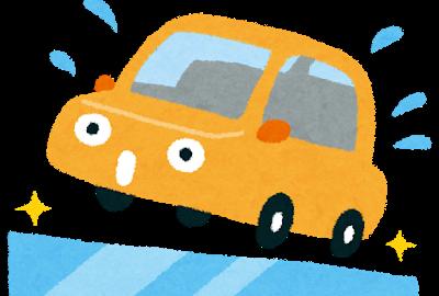 スリップする車のイラスト