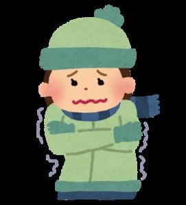 寒がる女性のイラスト